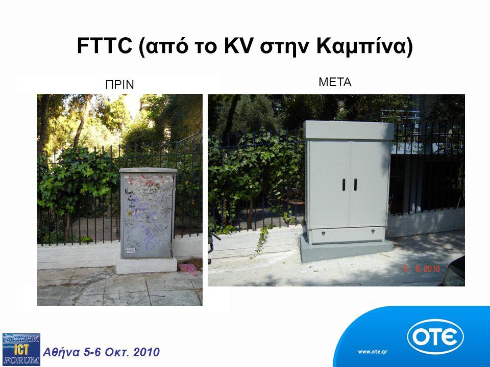 Αθήνα 5-6 Οκτ. 2010 FTTC (από το KV στην Καμπίνα) ΠΡΙΝ ΜΕΤΑ