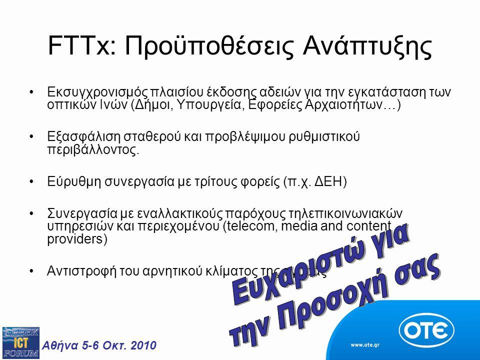 Αθήνα 5-6 Οκτ. 2010 FTTx: Προϋποθέσεις Ανάπτυξης Εκσυγχρονισμός πλαισίου έκδοσης αδειών για την εγκατάσταση των οπτικών Ινών (Δήμοι, Υπουργεία, Εφορεί