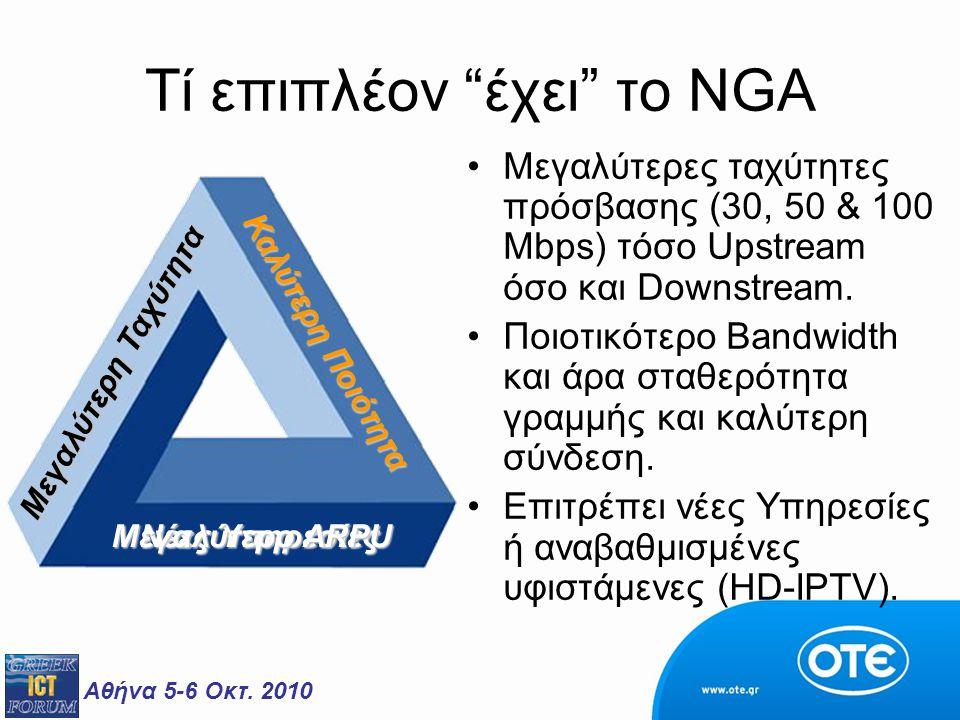 """Αθήνα 5-6 Οκτ. 2010 Tί επιπλέον """"έχει"""" το NGA Μεγαλύτερες ταχύτητες πρόσβασης (30, 50 & 100 Mbps) τόσο Upstream όσο και Downstream. Ποιοτικότερο Bandw"""