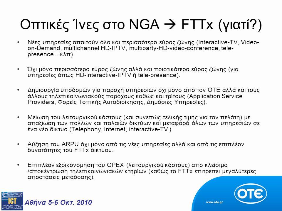 Αθήνα 5-6 Οκτ. 2010 Οπτικές Ίνες στο NGA  FTTx (γιατί?) Νέες υπηρεσίες απαιτούν όλο και περισσότερο εύρος ζώνης (Interactive-TV, Video- on-Demand, mu