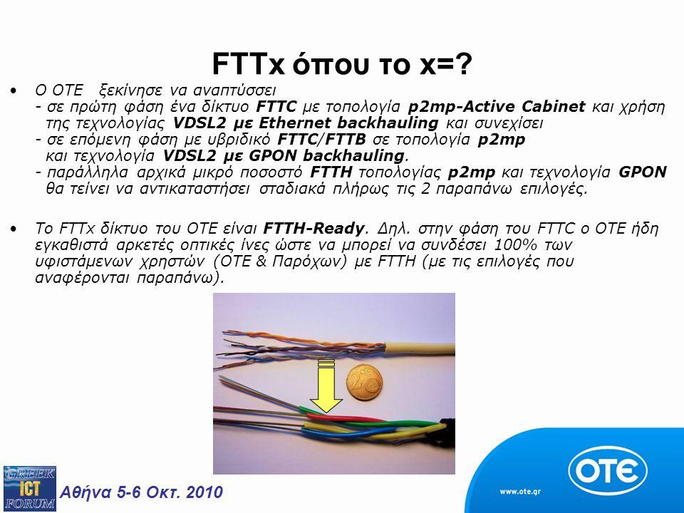 Αθήνα 5-6 Οκτ. 2010 FTTx όπου το x=? Ο ΟΤΕ ξεκίνησε να αναπτύσσει - σε πρώτη φάση ένα δίκτυο FTTC με τοπολογία p2mp-Active Cabinet και χρήση της τεχνο