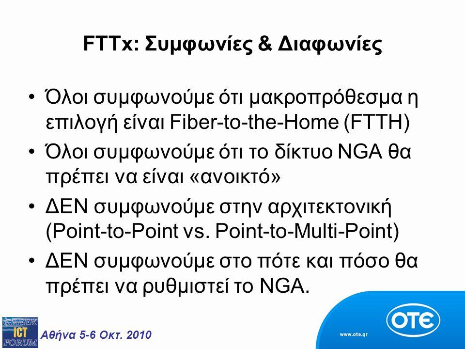 Αθήνα 5-6 Οκτ. 2010 FTTx: Συμφωνίες & Διαφωνίες Όλοι συμφωνούμε ότι μακροπρόθεσμα η επιλογή είναι Fiber-to-the-Home (FTTH) Όλοι συμφωνούμε ότι το δίκτ