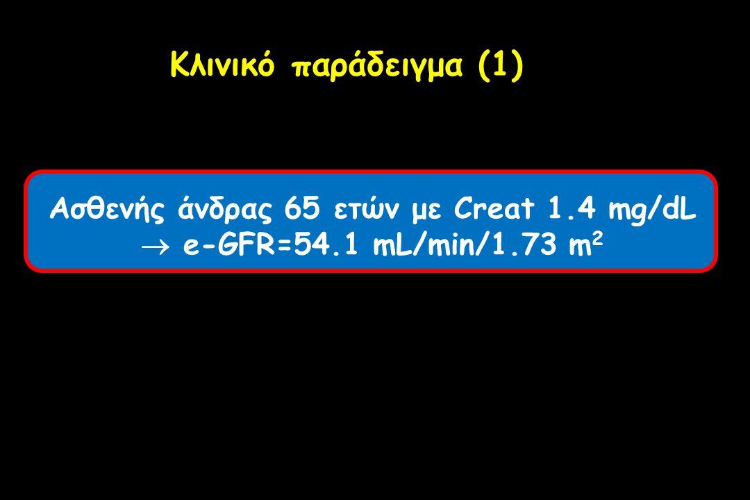 Ασθενής άνδρας 65 ετών με Creat 1.4 mg/dL  e-GFR=54.1 mL/min/1.73 m 2 Κλινικό παράδειγμα (1)