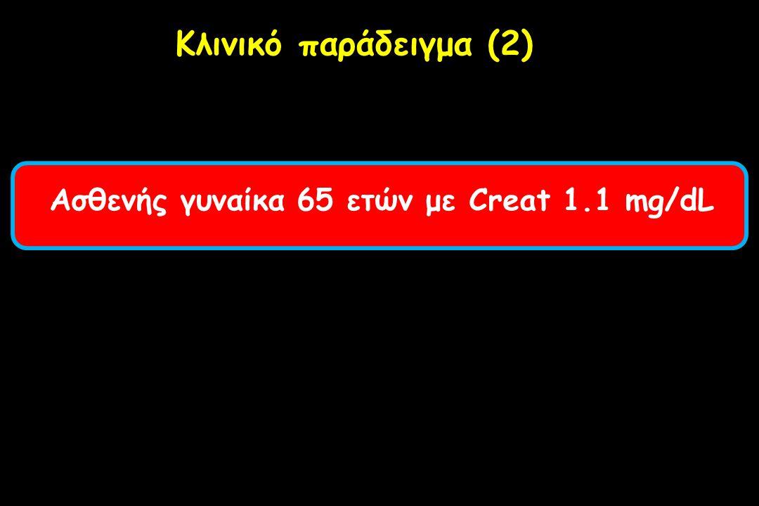 Ασθενής γυναίκα 65 ετών με Creat 1.1 mg/dL Κλινικό παράδειγμα (2)