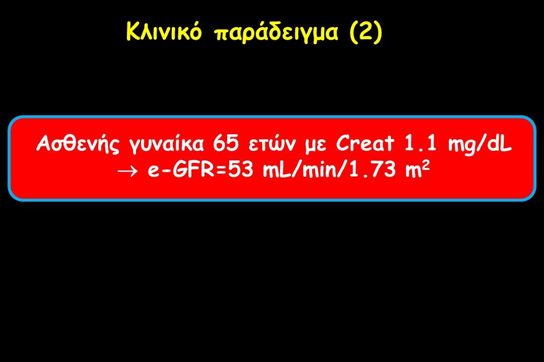Ασθενής γυναίκα 65 ετών με Creat 1.1 mg/dL  e-GFR=53 mL/min/1.73 m 2 Κλινικό παράδειγμα (2)