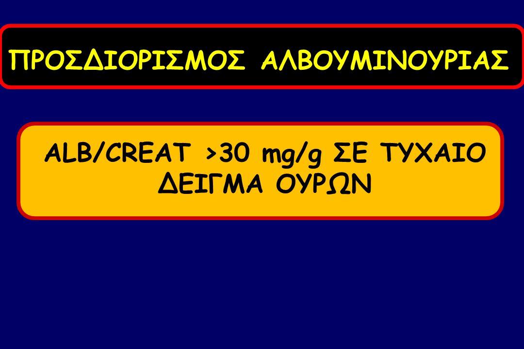 ALB/CREAT >30 mg/g ΣΕ ΤΥΧΑΙΟ ΔΕΙΓΜΑ ΟΥΡΩΝ ΠΡΟΣΔΙΟΡΙΣΜΟΣ ΑΛΒΟΥΜΙΝΟΥΡΙΑΣ