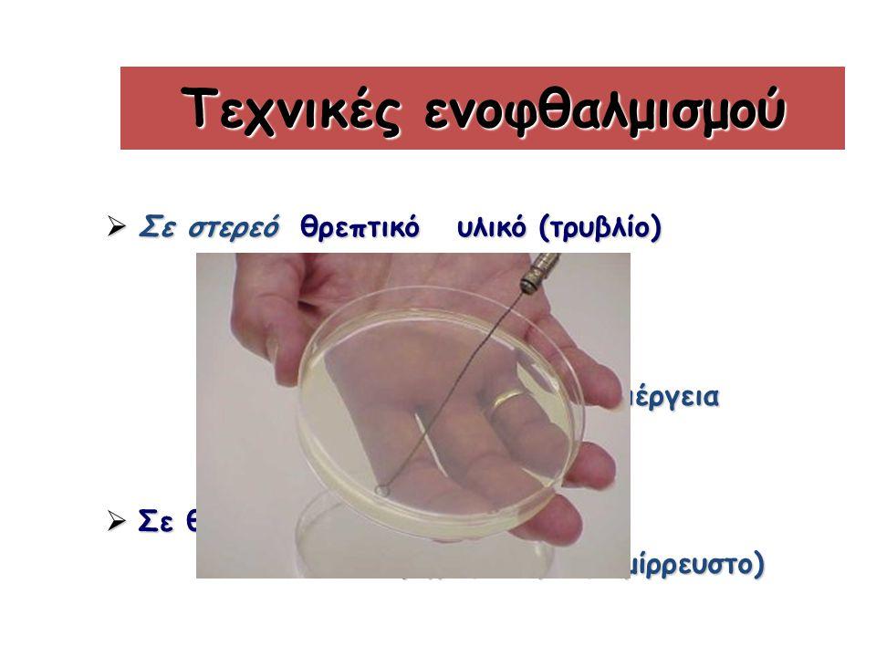Τεχνικές ενοφθαλμισμού  Σε στερεό θρεπτικό υλικό (τρυβλίο) -για απομόνωση μικροβίων -για απομόνωση μικροβίων -ποσοτική/ημιποσοτική καλλιέργεια -ποσοτική/ημιποσοτική καλλιέργεια  Σε θρεπτικό υλικό σε σωληνάριο (υγρό, στερεό, ημίρρευστο) (υγρό, στερεό, ημίρρευστο)