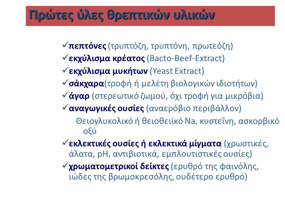 πεπτόνες (τρυπτόζη, τρυπτόνη, πρωτεόζη) εκχύλισμα κρέατος (Bacto-Beef-Extract) εκχύλισμα μυκήτων (Yeast Extract) σάκχαρα(τροφή ή μελέτη βιολογικών ιδιοτήτων) άγαρ (στερεωτικό ζωμού, όχι τροφή για μικρόβια) αναγωγικές ουσίες (αναερόβιο περιβάλλον) Θειογλυκολικό ή θειοθειϊκό Na, κυστεΐνη, ασκορβικό οξύ εκλεκτικές ουσίες ή εκλεκτικά μίγματα (χρωστικές, άλατα, pH, αντιβιοτικά, εμπλουτιστικές ουσίες) χρωματομετρικοί δείκτες (ερυθρό της φαινόλης, ιώδες της βρωμοκρεσόλης, ουδέτερο ερυθρό) Πρώτες ύλες θρεπτικών υλικών