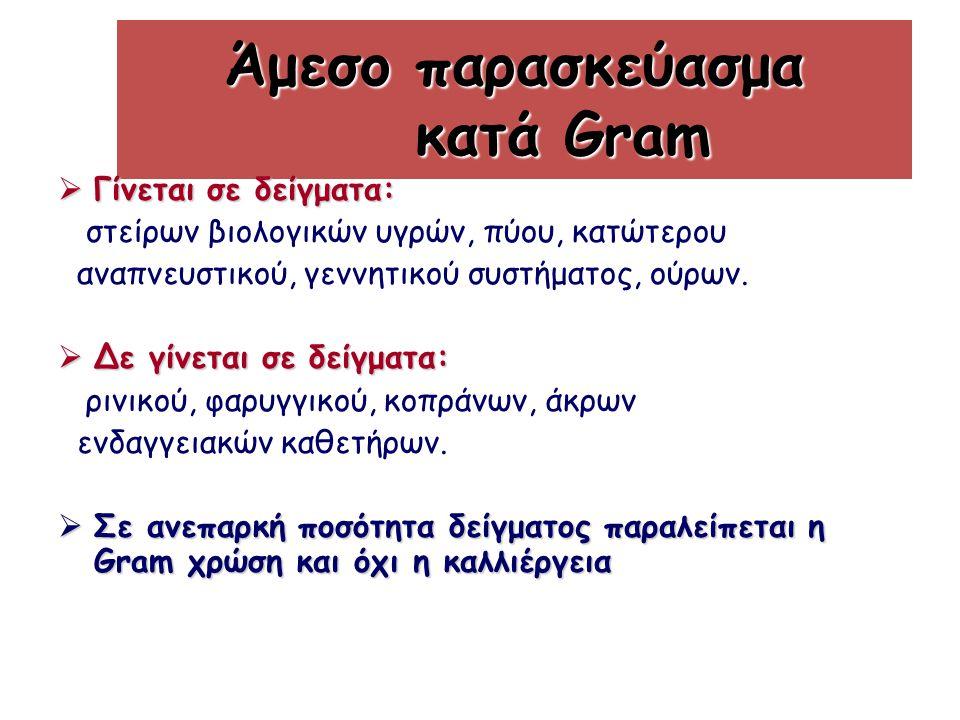 Άμεσο παρασκεύασμα κατά Gram  Γίνεται σε δείγματα: στείρων βιολογικών υγρών, πύου, κατώτερου αναπνευστικού, γεννητικού συστήματος, ούρων.