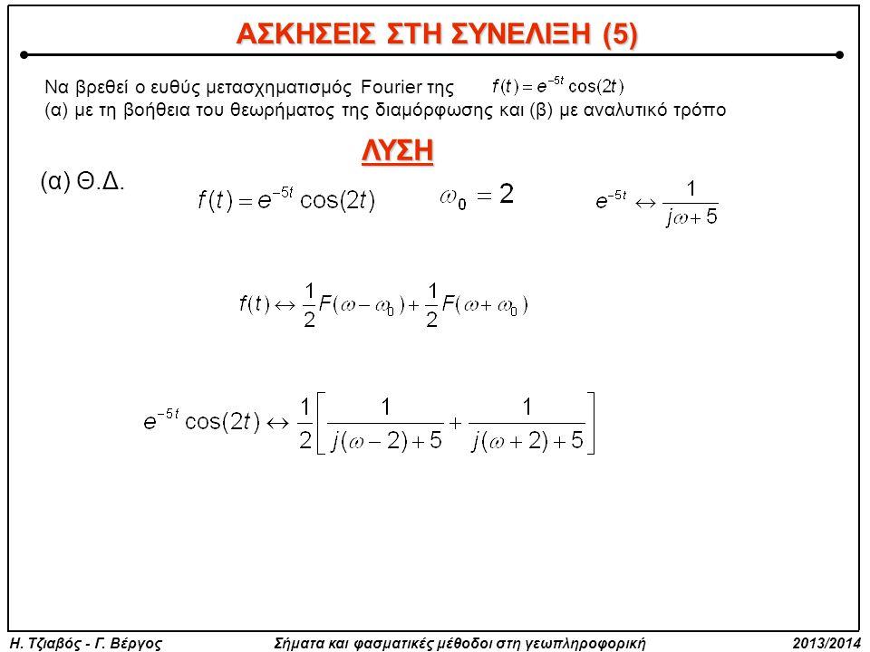 Να βρεθεί ο ευθύς μετασχηματισμός Fourier της (α) με τη βοήθεια του θεωρήματος της διαμόρφωσης και (β) με αναλυτικό τρόπο ΛΥΣΗ (α) Θ.Δ.