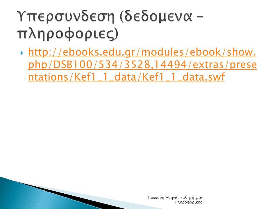  http://ebooks.edu.gr/modules/ebook/show. php/DSB100/534/3528,14494/extras/prese ntations/Kef1_1_data/Kef1_1_data.swf http://ebooks.edu.gr/modules/eb