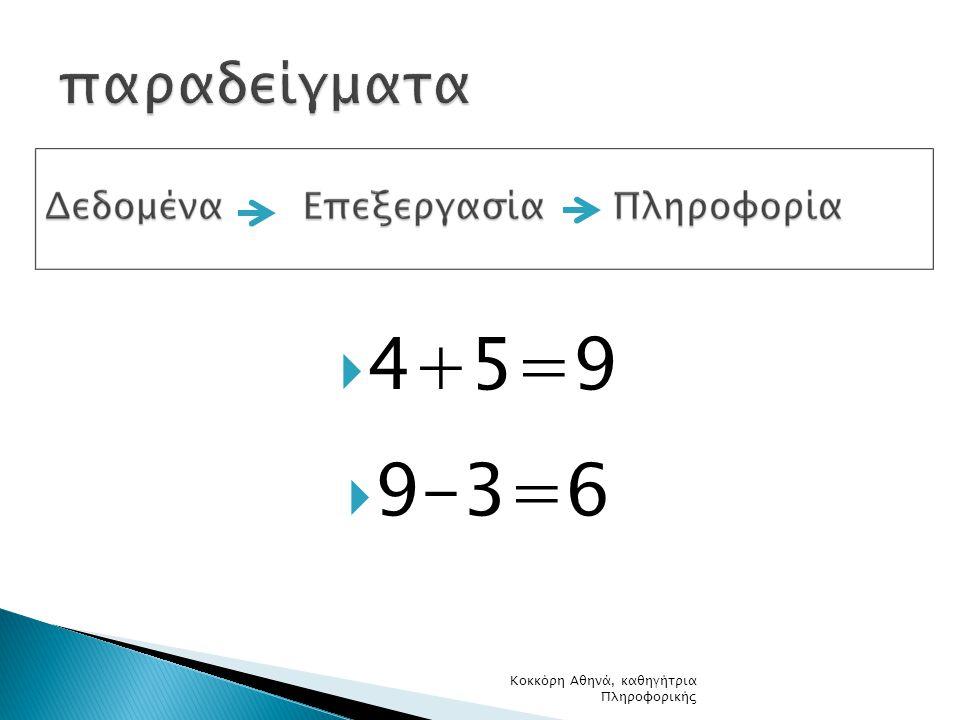 4+5=9  9-3=6 Κοκκόρη Αθηνά, καθηγήτρια Πληροφορικής