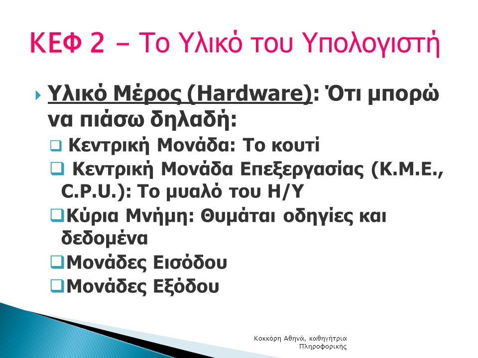  Υλικό Μέρος (Hardware): Ότι μπορώ να πιάσω δηλαδή:  Κεντρική Μονάδα: Το κουτί  Κεντρική Μονάδα Επεξεργασίας (Κ.Μ.Ε., C.P.U.): Το μυαλό του Η/Υ  Κ