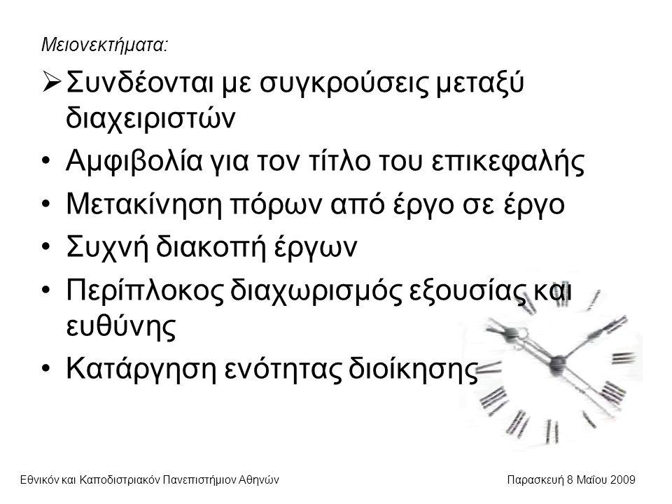 Εθνικόν και Καποδιστριακόν Πανεπιστήμιον ΑθηνώνΠαρασκευή 8 Μαΐου 2009 Μειονεκτήματα:  Συνδέονται με συγκρούσεις μεταξύ διαχειριστών Αμφιβολία για τον τίτλο του επικεφαλής Μετακίνηση πόρων από έργο σε έργο Συχνή διακοπή έργων Περίπλοκος διαχωρισμός εξουσίας και ευθύνης Κατάργηση ενότητας διοίκησης