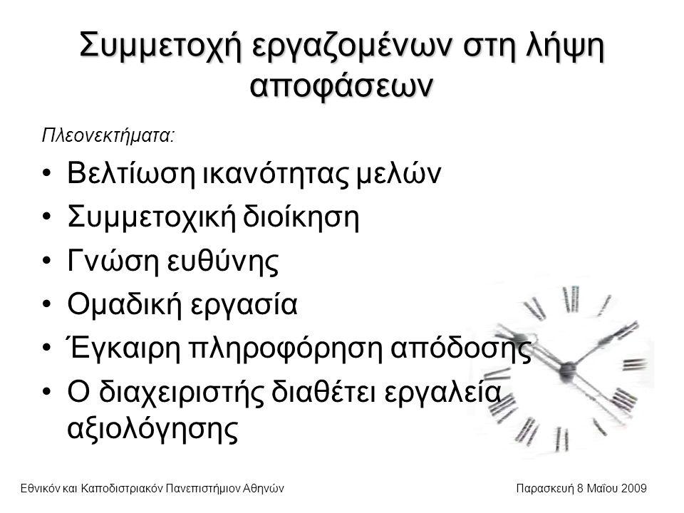 Συμμετοχή εργαζομένων στη λήψη αποφάσεων Εθνικόν και Καποδιστριακόν Πανεπιστήμιον ΑθηνώνΠαρασκευή 8 Μαΐου 2009 Πλεονεκτήματα: Βελτίωση ικανότητας μελών Συμμετοχική διοίκηση Γνώση ευθύνης Ομαδική εργασία Έγκαιρη πληροφόρηση απόδοσης Ο διαχειριστής διαθέτει εργαλεία αξιολόγησης