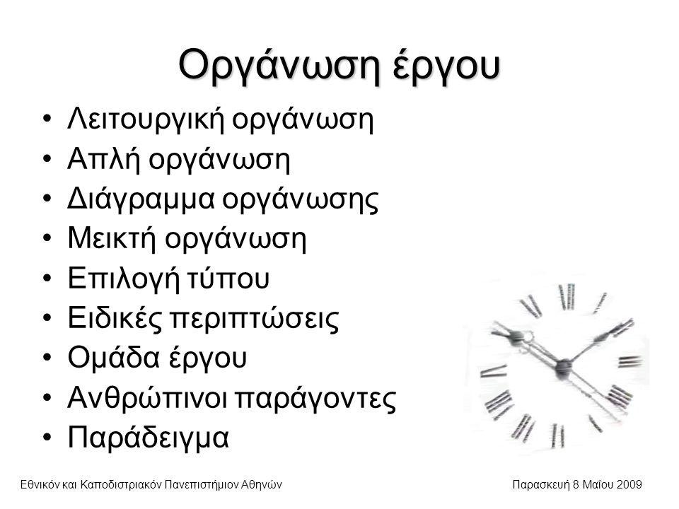Επιλογή τύπου οργάνωσης Εθνικόν και Καποδιστριακόν Πανεπιστήμιον ΑθηνώνΠαρασκευή 8 Μαΐου 2009  Δεν υπάρχουν σαφείς κανόνες Γενικά, ακολουθούνται τα εξής βήματα: Προσδιορισμός στόχων Καθορισμός εργασιών και λειτουργικών μονάδων Διάκριση προτεραιότητας και πακετοποίηση Σχεδιασμός συνεργασίας μεταξύ μονάδων Κατάλογος ειδικών χαρακτηριστικών Επιλογή ενός τύπου