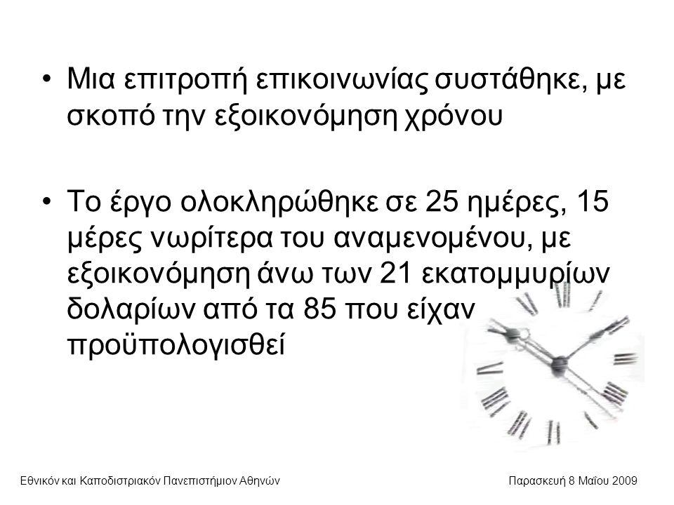 Εθνικόν και Καποδιστριακόν Πανεπιστήμιον ΑθηνώνΠαρασκευή 8 Μαΐου 2009 Μια επιτροπή επικοινωνίας συστάθηκε, με σκοπό την εξοικονόμηση χρόνου Το έργο ολοκληρώθηκε σε 25 ημέρες, 15 μέρες νωρίτερα του αναμενομένου, με εξοικονόμηση άνω των 21 εκατομμυρίων δολαρίων από τα 85 που είχαν προϋπολογισθεί
