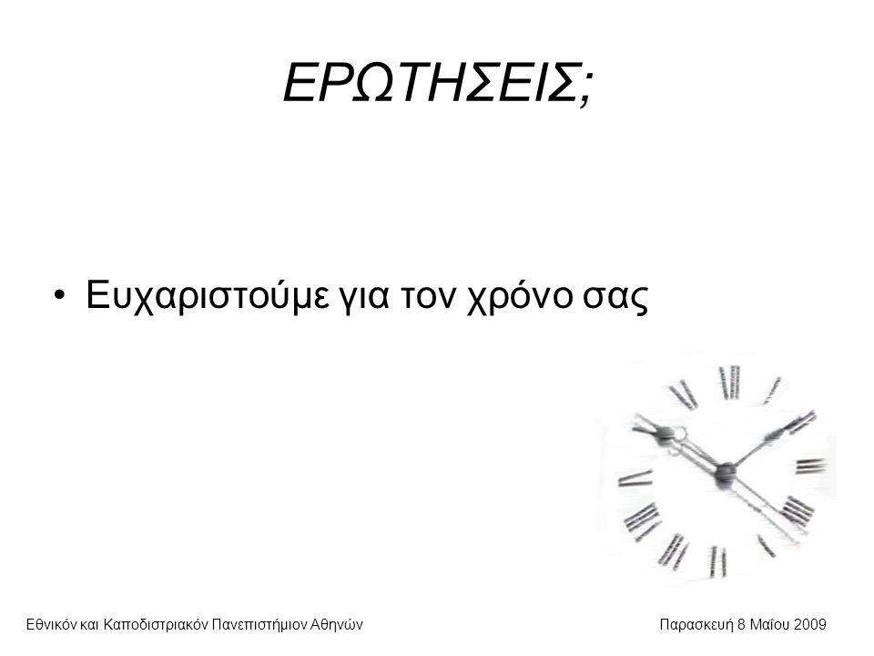 ΕΡΩΤΗΣΕΙΣ; Εθνικόν και Καποδιστριακόν Πανεπιστήμιον ΑθηνώνΠαρασκευή 8 Μαΐου 2009 Ευχαριστούμε για τον χρόνο σας