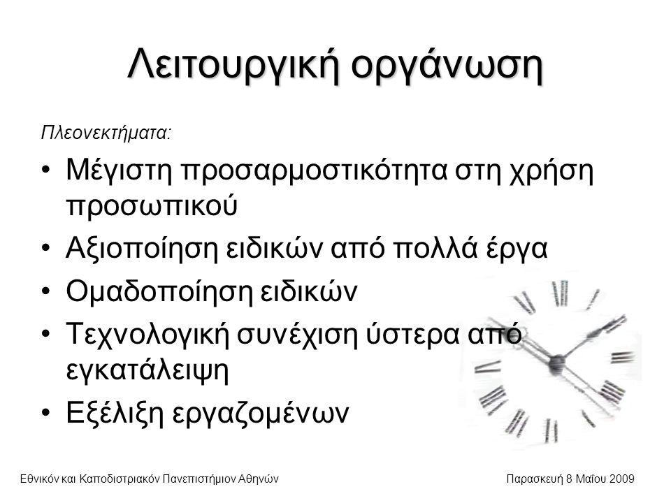 Λειτουργική οργάνωση Εθνικόν και Καποδιστριακόν Πανεπιστήμιον ΑθηνώνΠαρασκευή 8 Μαΐου 2009 Πλεονεκτήματα: Μέγιστη προσαρμοστικότητα στη χρήση προσωπικού Αξιοποίηση ειδικών από πολλά έργα Ομαδοποίηση ειδικών Τεχνολογική συνέχιση ύστερα από εγκατάλειψη Εξέλιξη εργαζομένων