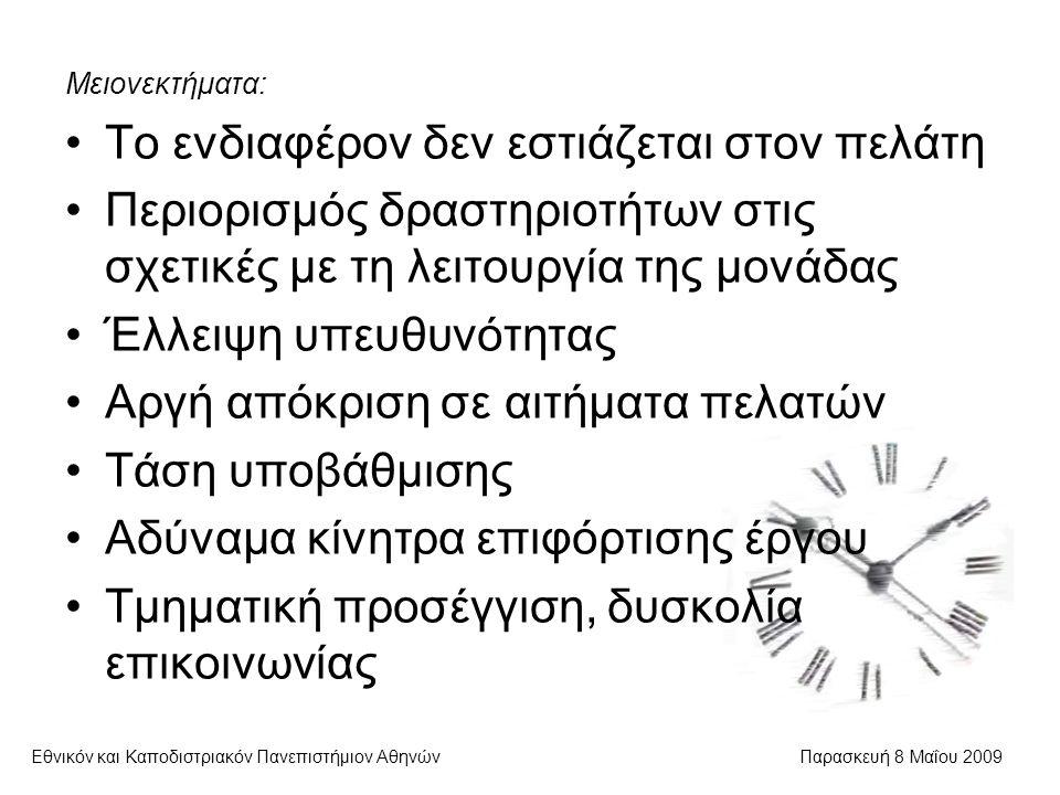 Διαχείριση κινδύνου Εθνικόν και Καποδιστριακόν Πανεπιστήμιον ΑθηνώνΠαρασκευή 8 Μαΐου 2009 Προγραμματισμός διαχείρισης Προσδιορισμός κινδύνων Ποιοτική ανάλυση – μελέτη συνθηκών και συνεπειών Ποσοτική ανάλυση – πιθανότητα εμφάνισης και επιπτώσεις Προγραμματισμός δράσης Παρακολούθηση και έλεγχος