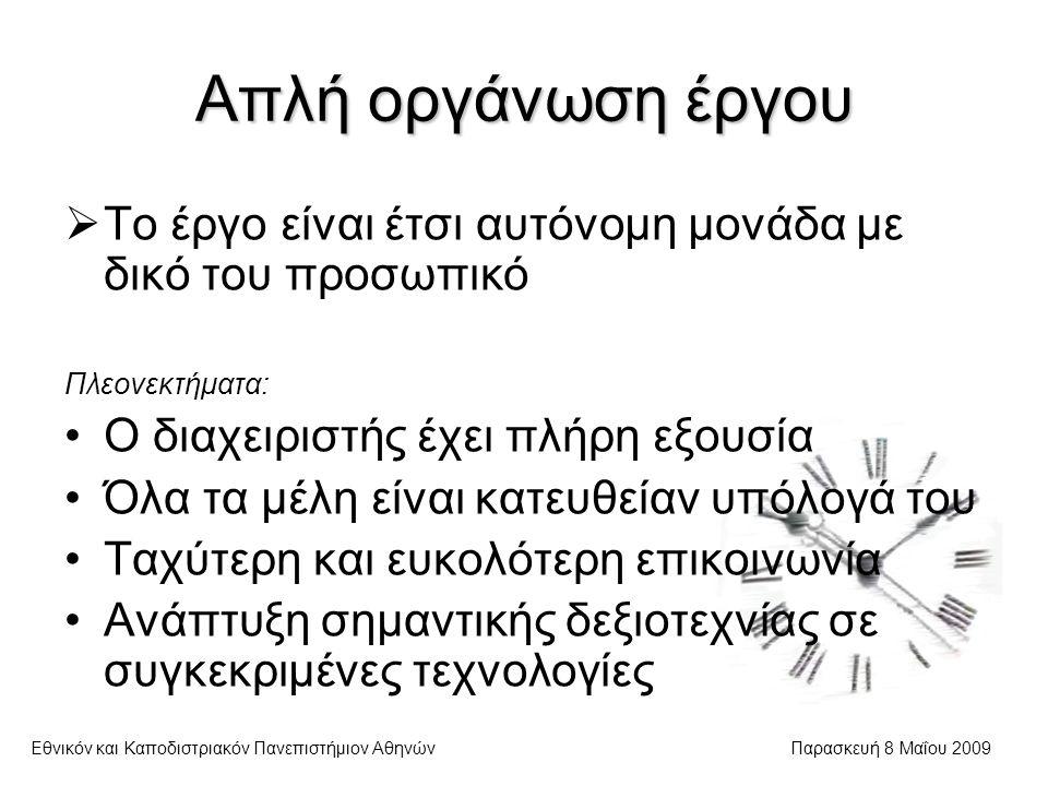 Απλή οργάνωση έργου Εθνικόν και Καποδιστριακόν Πανεπιστήμιον ΑθηνώνΠαρασκευή 8 Μαΐου 2009  Το έργο είναι έτσι αυτόνομη μονάδα με δικό του προσωπικό Πλεονεκτήματα: Ο διαχειριστής έχει πλήρη εξουσία Όλα τα μέλη είναι κατευθείαν υπόλογά του Ταχύτερη και ευκολότερη επικοινωνία Ανάπτυξη σημαντικής δεξιοτεχνίας σε συγκεκριμένες τεχνολογίες
