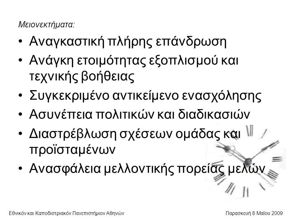 Ανθρώπινοι παράγοντες Εθνικόν και Καποδιστριακόν Πανεπιστήμιον ΑθηνώνΠαρασκευή 8 Μαΐου 2009  Η εκπλήρωση στόχων εντός χρονικών και χρηματικών ορίων αποτελεί πρόβλημα Ο διαχειριστής πρέπει να δίνει οικονομικά και ηθικά κίνητρα Επίσης, πρέπει να συγχαίρει για τις επιτυχίες και να μην επικρίνει διαρκώς τις αποτυχίες