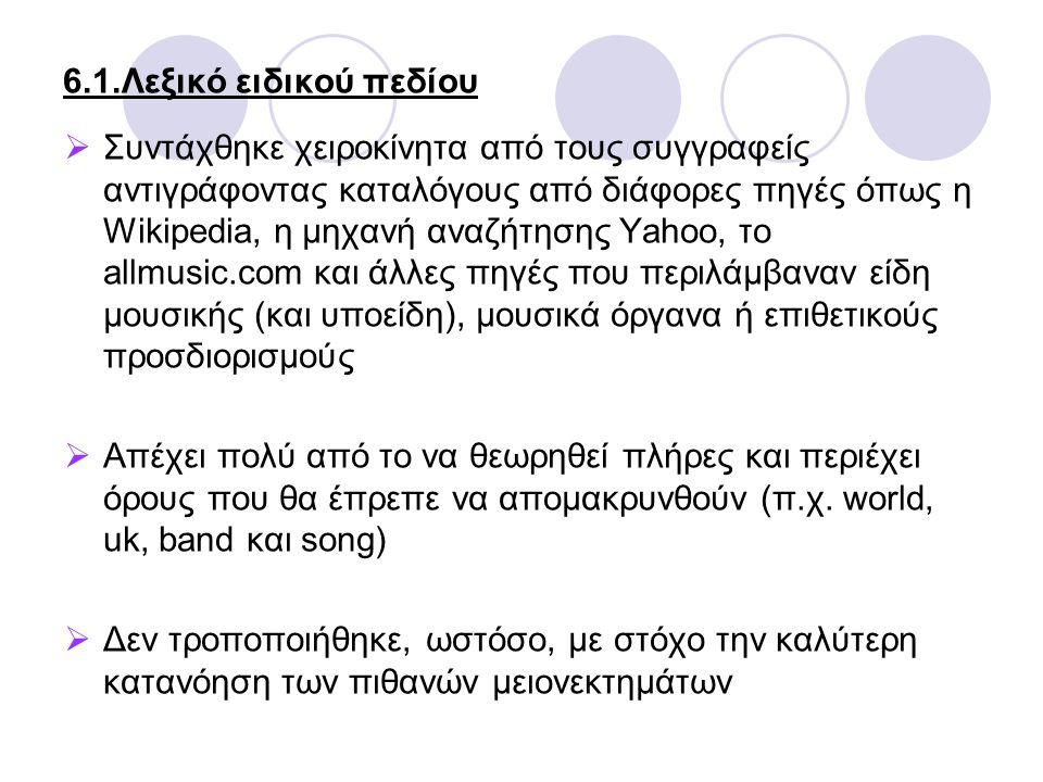 6.1.Λεξικό ειδικού πεδίου  Συντάχθηκε χειροκίνητα από τους συγγραφείς αντιγράφοντας καταλόγους από διάφορες πηγές όπως η Wikipedia, η μηχανή αναζήτησης Yahoo, το allmusic.com και άλλες πηγές που περιλάμβαναν είδη μουσικής (και υποείδη), μουσικά όργανα ή επιθετικούς προσδιορισμούς  Απέχει πολύ από το να θεωρηθεί πλήρες και περιέχει όρους που θα έπρεπε να απομακρυνθούν (π.χ.