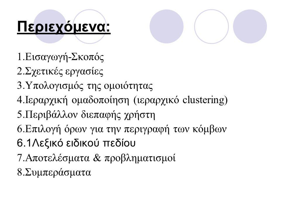 Περιεχόμενα: 1.Εισαγωγή-Σκοπός 2.Σχετικές εργασίες 3.Υπολογισμός της ομοιότητας 4.Ιεραρχική ομαδοποίηση (ιεραρχικό clustering) 5.Περιβάλλον διεπαφής χρήστη 6.Επιλογή όρων για την περιγραφή των κόμβων 6.1Λεξικό ειδικού πεδίου 7.Αποτελέσματα & προβληματισμοί 8.Συμπεράσματα