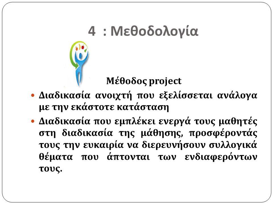 4 : Μεθοδολογία Μέθοδος project Διαδικασία ανοιχτή που εξελίσσεται ανάλογα με την εκάστοτε κατάσταση Διαδικασία που εμπλέκει ενεργά τους μαθητές στη δ