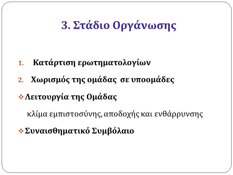 3. Στάδιο Οργάνωσης 1. Κατάρτιση ερωτηματολογίων 2. Χωρισμός της ομάδας σε υποομάδες  Λειτουργία της Ομάδας κλίμα εμπιστοσύνης, αποδοχής και ενθάρρυν