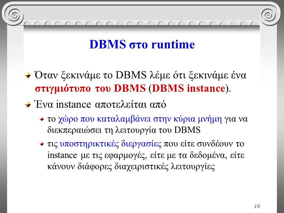10 DBMS στο runtime Όταν ξεκινάμε το DBMS λέμε ότι ξεκινάμε ένα στιγμιότυπο του DBMS (DBMS instance).