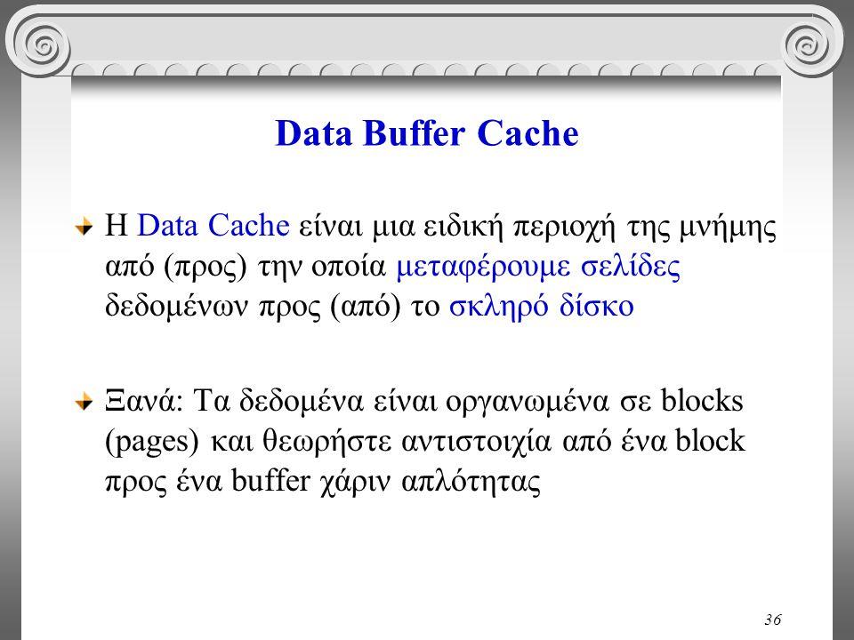 36 Data Buffer Cache H Data Cache είναι μια ειδική περιοχή της μνήμης από (προς) την οποία μεταφέρουμε σελίδες δεδομένων προς (από) το σκληρό δίσκο Ξανά: Τα δεδομένα είναι οργανωμένα σε blocks (pages) και θεωρήστε αντιστοιχία από ένα block προς ένα buffer χάριν απλότητας