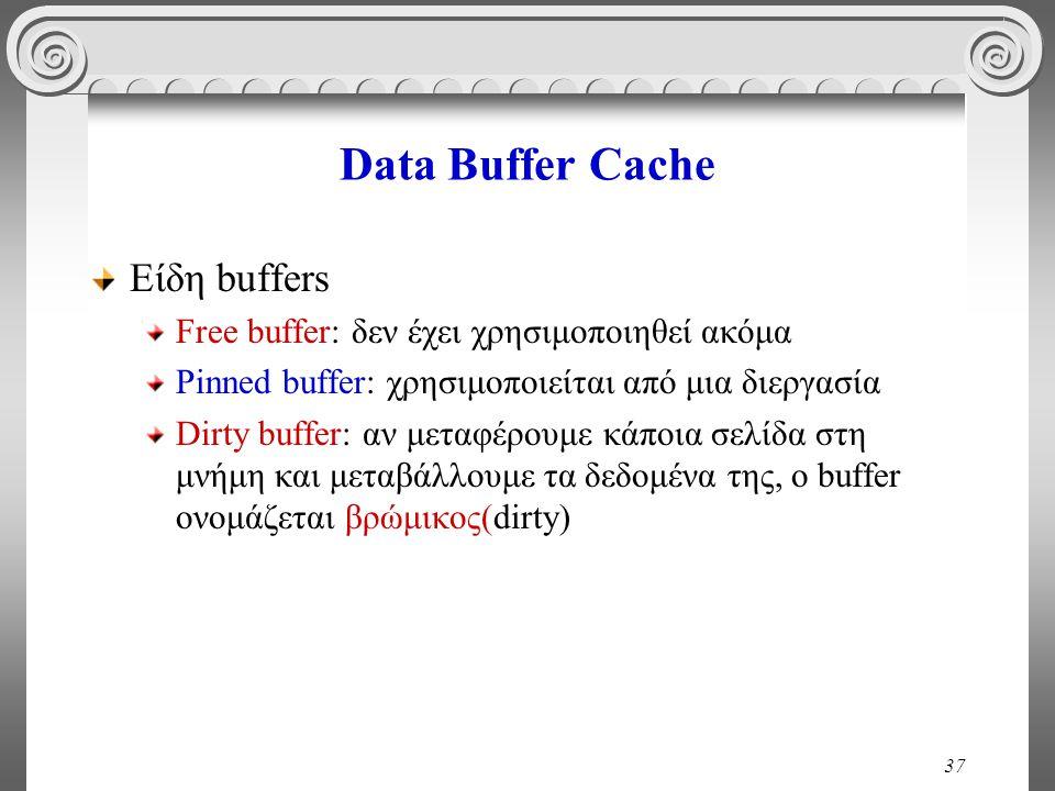 37 Data Buffer Cache Είδη buffers Free buffer: δεν έχει χρησιμοποιηθεί ακόμα Pinned buffer: χρησιμοποιείται από μια διεργασία Dirty buffer: αν μεταφέρουμε κάποια σελίδα στη μνήμη και μεταβάλλουμε τα δεδομένα της, ο buffer ονομάζεται βρώμικος(dirty)
