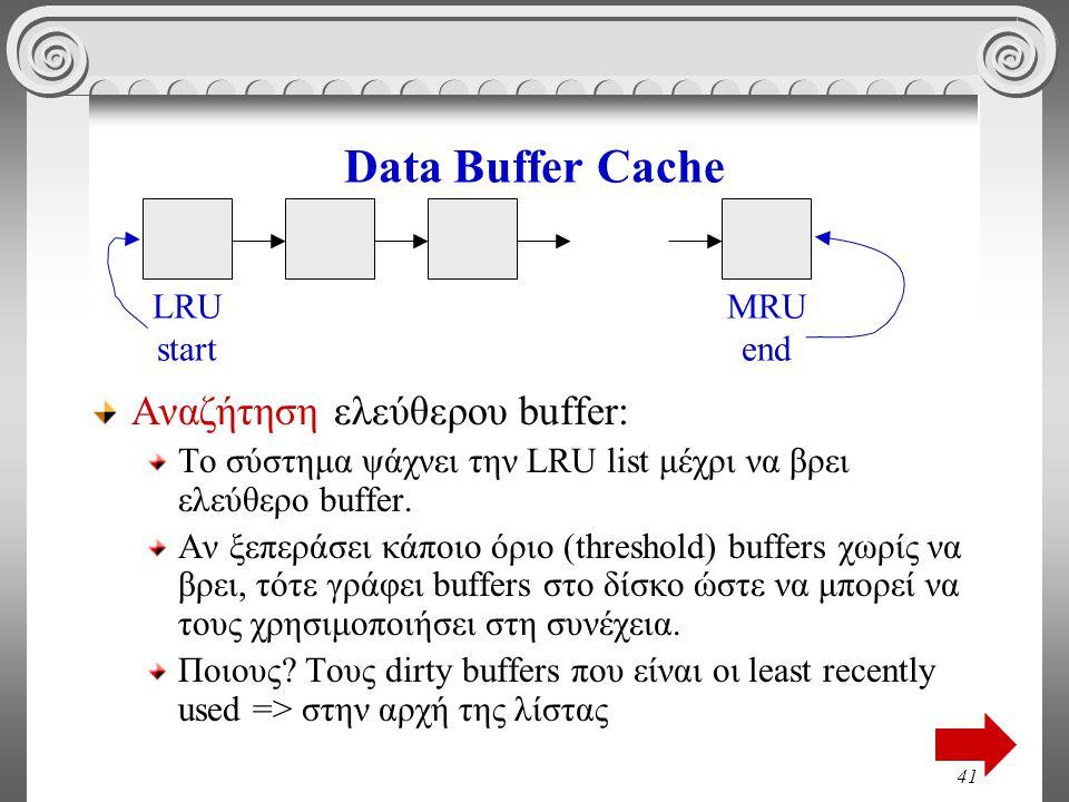 41 Data Buffer Cache Αναζήτηση ελεύθερου buffer: Το σύστημα ψάχνει την LRU list μέχρι να βρει ελεύθερο buffer.