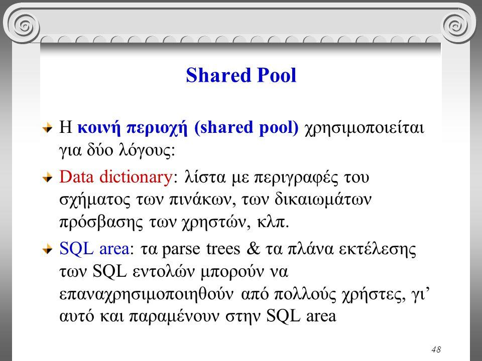 48 Shared Pool H κοινή περιοχή (shared pool) χρησιμοποιείται για δύο λόγους: Data dictionary: λίστα με περιγραφές του σχήματος των πινάκων, των δικαιωμάτων πρόσβασης των χρηστών, κλπ.