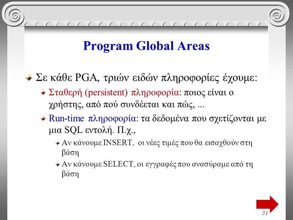 51 Program Global Areas Σε κάθε PGA, τριών ειδών πληροφορίες έχουμε: Σταθερή (persistent) πληροφορία: ποιος είναι ο χρήστης, από πού συνδέεται και πώς,...