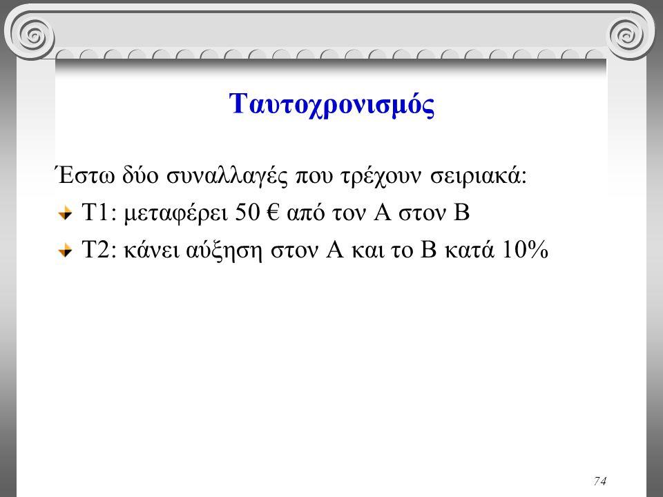 74 Ταυτοχρονισμός Έστω δύο συναλλαγές που τρέχουν σειριακά: Τ1: μεταφέρει 50 € από τον Α στον Β Τ2: κάνει αύξηση στον Α και το Β κατά 10%