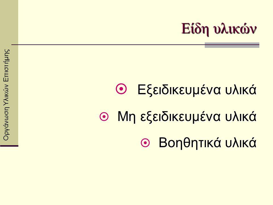 Αποθήκευση υλικών  Στα ράφια κατά ενότητες (Θερμότητα, Ηλεκτρισμός, Μαγνητισμός-Οπτική, 'Υλη-Δυνάμεις, Προπλάσματα)  Εύκολη πρόσβαση  Αναγραφή περιεχομένου θήκης ή κουτιού  Ορθή αποθήκευση συγκεκριμένων υλικών Οργάνωση Υλικών Επιστήμης
