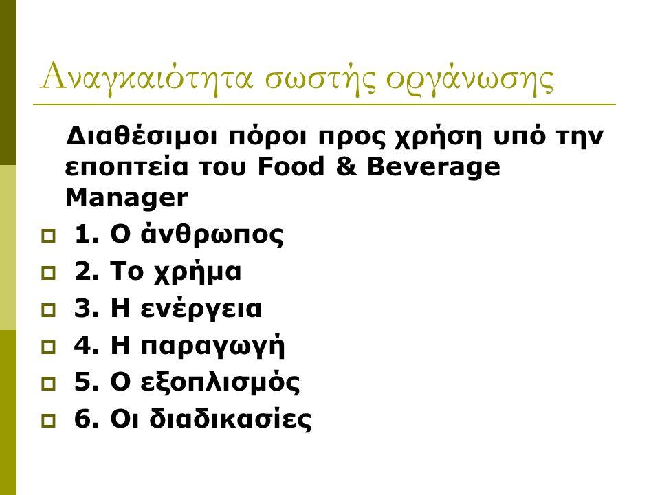 Αναγκαιότητα σωστής οργάνωσης Διαθέσιμοι πόροι προς χρήση υπό την εποπτεία του Food & Beverage Manager  1. Ο άνθρωπος  2. Το χρήμα  3. Η ενέργεια 