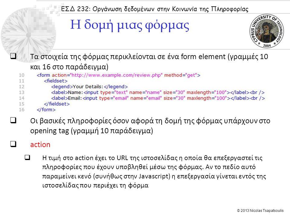 ΕΣΔ 232: Οργάνωση δεδομένων στην Κοινωνία της Πληροφορίας © 2013 Nicolas Tsapatsoulis  Τα στοιχεία της φόρμας περικλείονται σε ένα form element (γραμ