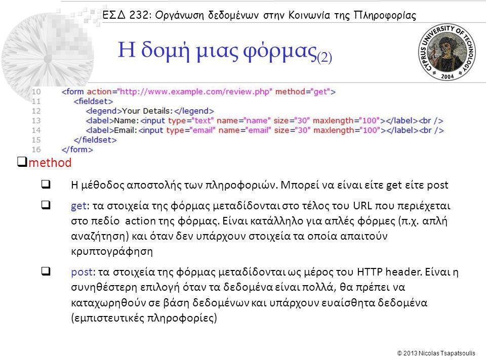ΕΣΔ 232: Οργάνωση δεδομένων στην Κοινωνία της Πληροφορίας © 2013 Nicolas Tsapatsoulis  method  Η μέθοδος αποστολής των πληροφοριών. Μπορεί να είναι