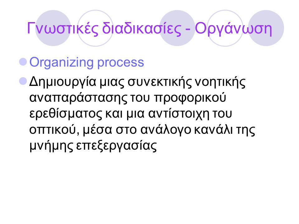 Γνωστικές διαδικασίες - Οργάνωση Organizing process Δημιουργία μιας συνεκτικής νοητικής αναπαράστασης του προφορικού ερεθίσματος και μια αντίστοιχη το