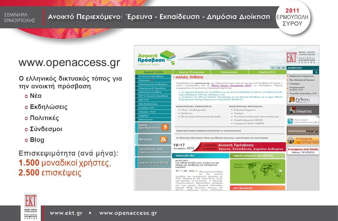 www.openaccess.gr Ο ελληνικός δικτυακός τόπος για την ανοικτή πρόσβαση o Νέα o Εκδηλώσεις o Πολιτικές o Σύνδεσμοι o Blog Επισκεψιμότητα (ανά μήνα): 1.