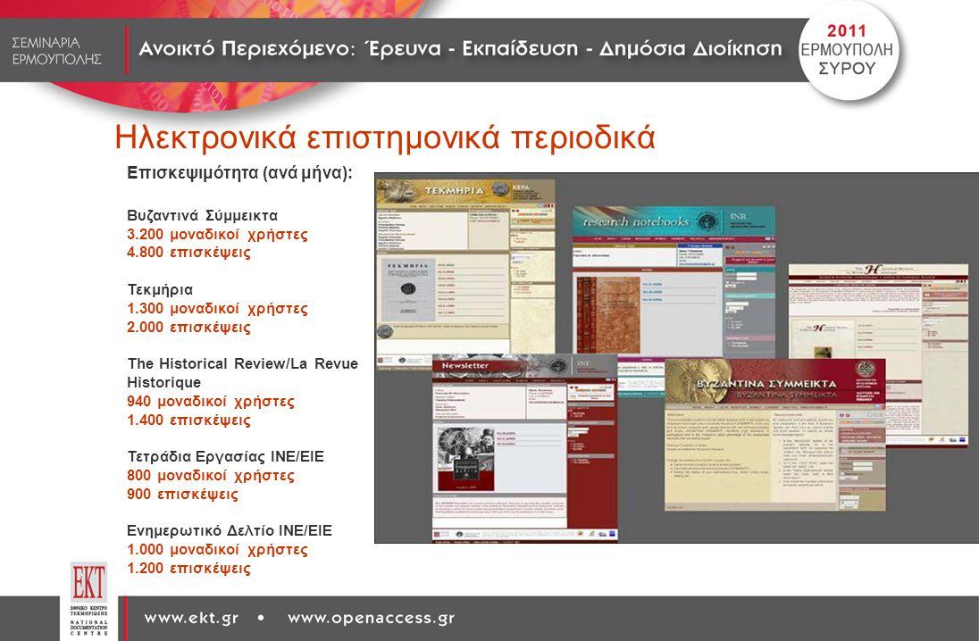 Ηλεκτρονικά επιστημονικά περιοδικά Επισκεψιμότητα (ανά μήνα): Βυζαντινά Σύμμεικτα 3.200 μοναδικοί χρήστες 4.800 επισκέψεις Τεκμήρια 1.300 μοναδικοί χρ