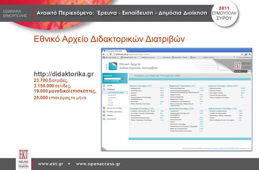 Εθνικό Αρχείο Διδακτορικών Διατριβών http://didaktorika.gr 23.700 διατριβές, 3.150.000 σελίδες, 19.000 μοναδικοί επισκέπτες, 25.000 επισκέψεις το μήνα