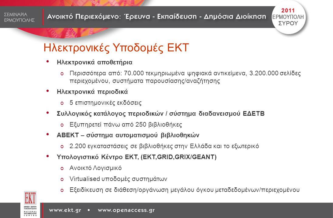 Ηλεκτρονικές Υποδομές ΕΚΤ Ηλεκτρονικά αποθετήρια o Περισσότερα από: 70.000 τεκμηριωμένα ψηφιακά αντικείμενα, 3.200.000 σελίδες περιεχομένου, συστήματα