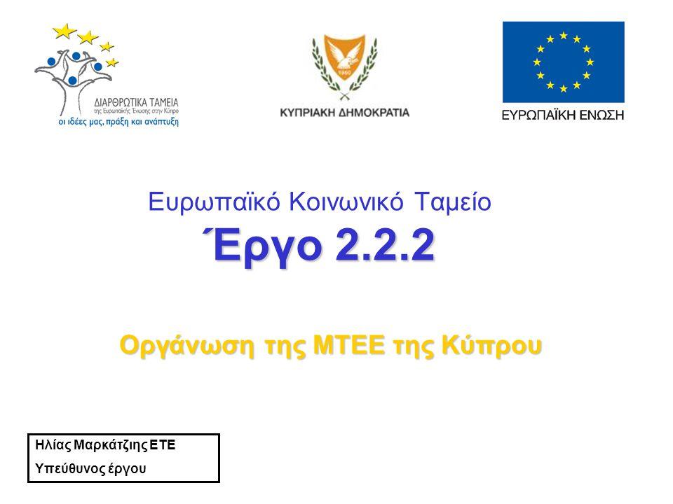 Έργο 2.2.2 Ευρωπαϊκό Κοινωνικό Ταμείο Έργο 2.2.2 Οργάνωση της ΜΤΕΕ της Κύπρου Ηλίας Μαρκάτζιης ΕΤΕ Υπεύθυνος έργου