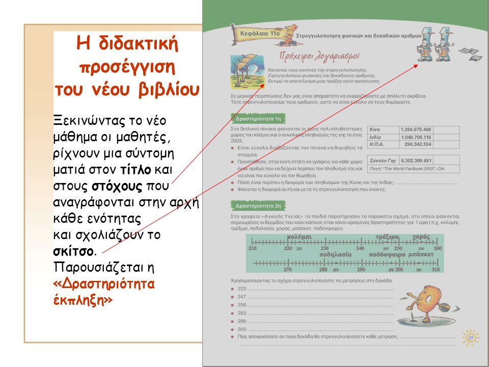 Η διδακτική προσέγγιση του νέου βιβλίου Ξεκινώντας το νέο μάθημα οι μαθητές, ρίχνουν μια σύντομη ματιά στον τίτλο και στους στόχους που αναγράφονται σ