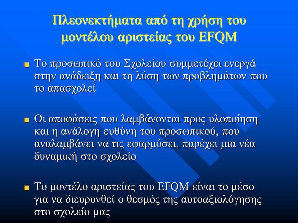 Πλεονεκτήματα από τη χρήση του μοντέλου αριστείας του EFQM Το προσωπικό του Σχολείου συμμετέχει ενεργά στην ανάδειξη και τη λύση των προβλημάτων που το απασχολεί Οι αποφάσεις που λαμβάνονται προς υλοποίηση και η ανάλογη ευθύνη του προσωπικού, που αναλαμβάνει να τις εφαρμόσει, παρέχει μια νέα δυναμική στο σχολείο Το μοντέλο αριστείας του EFQM είναι το μέσο για να διευρυνθεί ο θεσμός της αυτοαξιολόγησης στο σχολείο μας