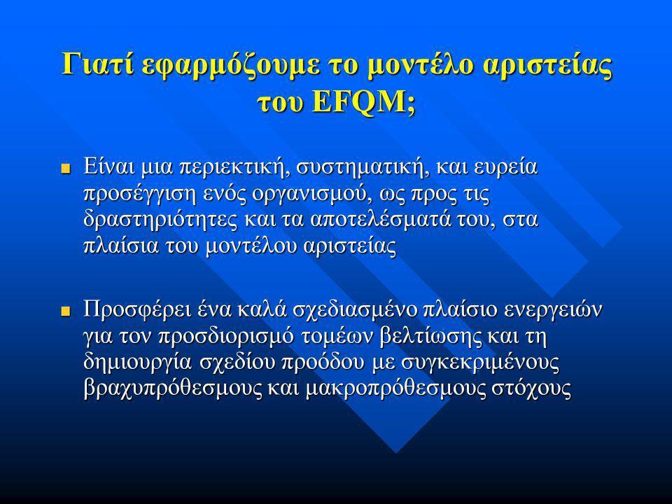 Γιατί εφαρμόζουμε το μοντέλο αριστείας του EFQM; Το μοντέλο αριστείας του EFQM δε βασίζεται στη φιλοσοφία της «εκ των άνω προς τα κάτω» προσέγγισης Βασίζεται στην ιδέα ότι όλοι συνεργάζονται, με στόχο την ανάδειξη δυνατών αλλά και αδύνατων σημείων και την εφαρμογή των απαραίτητων σχεδίων βελτίωσης Κάθε μέλος του οργανισμού φέρει την ίδια ευθύνη για την επιτυχία